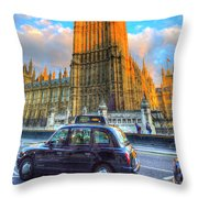 Westminster Bridge And Taxi Throw Pillow