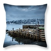 Wharf In Norris Point, Newfoundland Throw Pillow