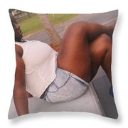 White And Jeans Throw Pillow