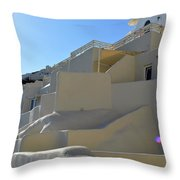White Architecture In The City Of Oia In Santorini, Greece Throw Pillow