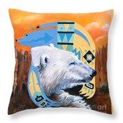 White Bear Goes Southwest Throw Pillow
