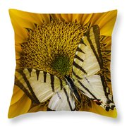 White Butterfly On Sunflower Throw Pillow