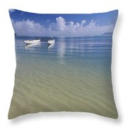White Double Hull Canoe Throw Pillow