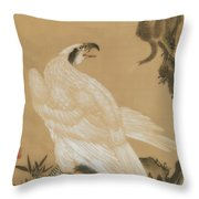 White Eagle Eyeing A Mountain Lion Throw Pillow