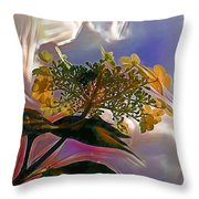 White Flower On Blue Sky Throw Pillow