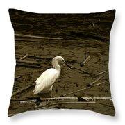 White Snowy Egret Throw Pillow