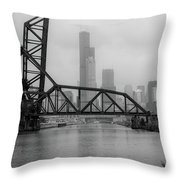 Willis Tower In Fog Throw Pillow
