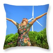 Wind Turbines Woman Throw Pillow