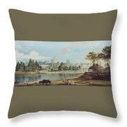 Windsor Castle From The Eton Shore Throw Pillow