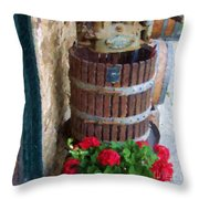 Wine And Geraniums Throw Pillow
