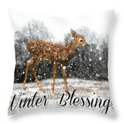 Winter Blessings Throw Pillow