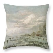 Winter Landscape Throw Pillow by Aert van der Neer