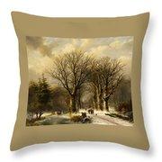 Winter Scene In Reichswald Throw Pillow