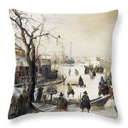 Winter Scene On A Canal Throw Pillow