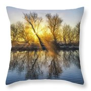 Winter Sunrise Over The Ouse Throw Pillow