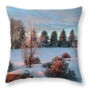Winter Sunset In Weyburn Throw Pillow