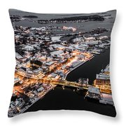 Winter Twilight In Mystic Connecticut Throw Pillow