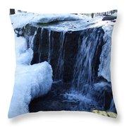 Winter Waterfall Throw Pillow