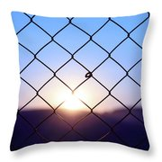 Wire Mesh Fence On A Sunset Background Throw Pillow