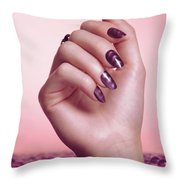 Woman Hand With Purple Nail Polish Throw Pillow