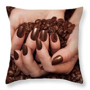 Woman Holding Coffee Beans In Her Hands Throw Pillow