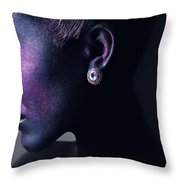 Woman In Purple Powder Throw Pillow