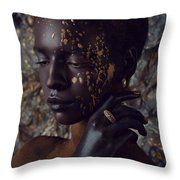 Woman In Splattered Golden Facial Paint Throw Pillow