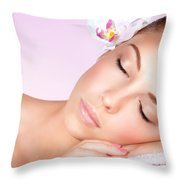Woman Relaxing On Massage Table Throw Pillow