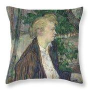 Woman Seated In A Garden Throw Pillow