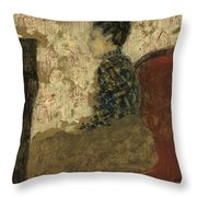Woman Sitting By The Fireside Throw Pillow