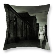 Woman Walking Away With A Child Throw Pillow
