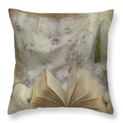 Woman With A Book Throw Pillow by Joana Kruse