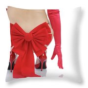 Woman With A Christmas Bow Throw Pillow by Oleksiy Maksymenko