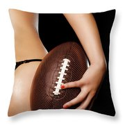Woman With A Football Throw Pillow