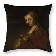 Woman With A Pink Throw Pillow