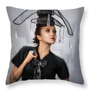 Woman With Chandelier Headdress Throw Pillow