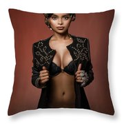 Woman With Ring Headdress And Bouffant Hairstyle Throw Pillow