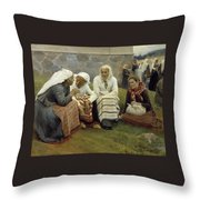 Women Outside The Church At Ruokolahti Throw Pillow