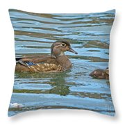 Wood Duck And Baby Throw Pillow