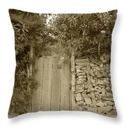 Wood Gate In A Wall Of Stones Throw Pillow