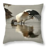 Wood Stork Winging It Throw Pillow