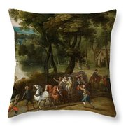 Wooded Landscape With Robbers Throw Pillow