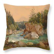 Wooded River Landscape In The Alps Throw Pillow
