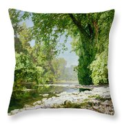 Wooded Riverscape Throw Pillow by Leopold Rolhaug