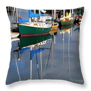 Wooden Ships On The Water Throw Pillow
