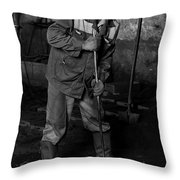 Worker In The Foundry Throw Pillow