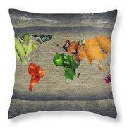 World Fruits Vegetables Map Throw Pillow