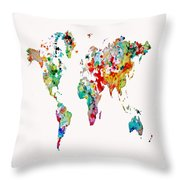 World Map 3b Throw Pillow