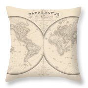 World Map In Two Hemispheres Throw Pillow