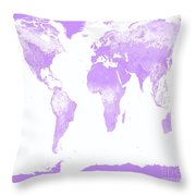 World Map Throw Pillow